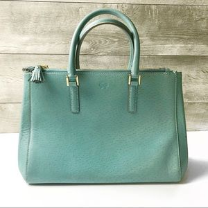 Anya Hindmarch teal blue leather top handle tote